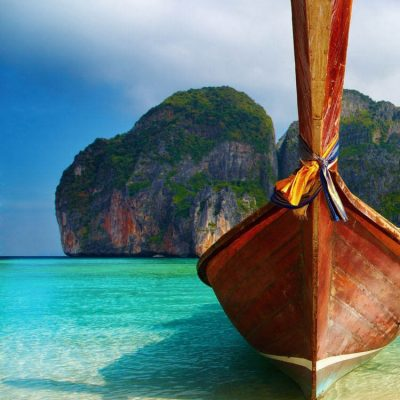 Long tail boat on Thailand beach
