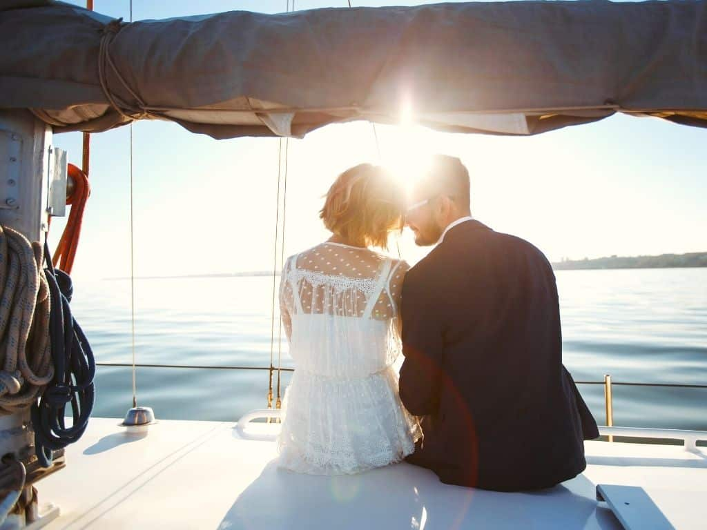 Wedding couple on a charter in Singapore bay