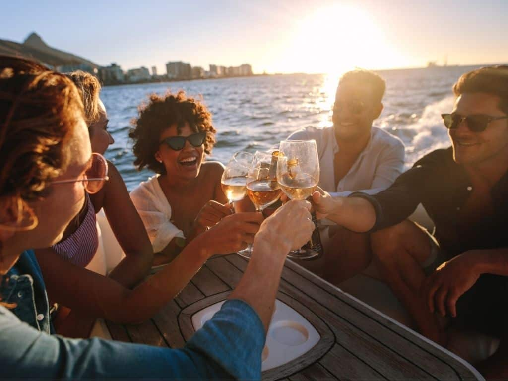 Friends and Family onboard a yacht charter in Singapore